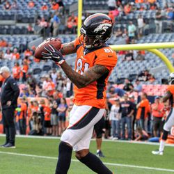 Broncos WR Tim Patrick see the ball in his hands after making the catch.