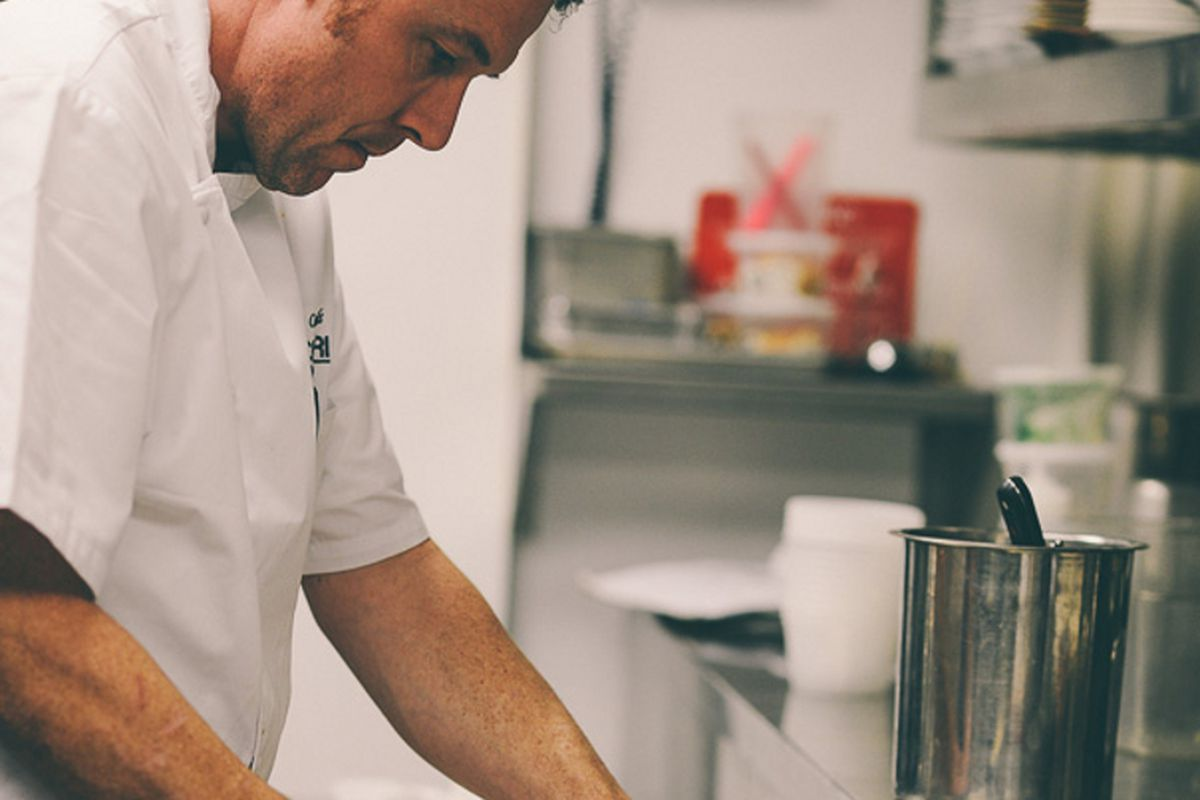 Chef Pierre Calmels, photographed in the kitchen at Le Cheri.