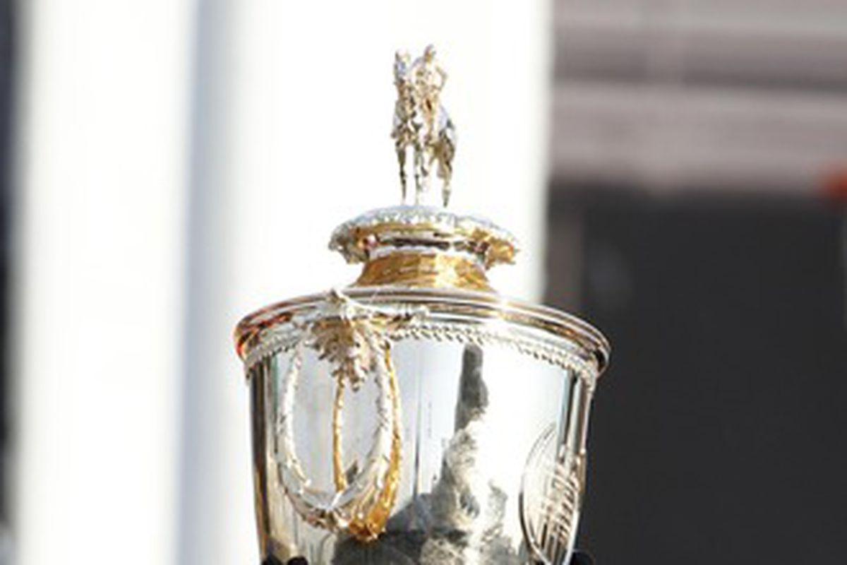 The Kentucky Derby trophy.
