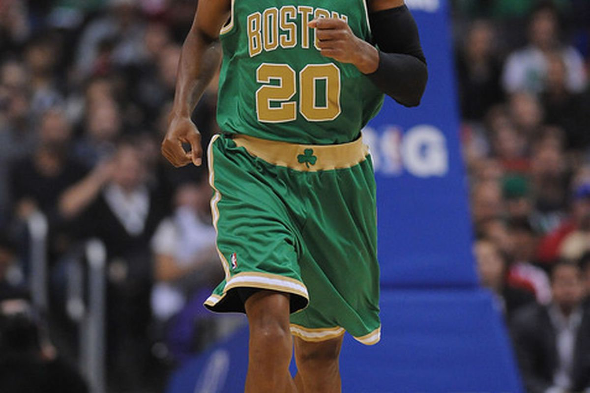 March 12, 2012; Los Angeles, CA, USA;   Boston Celtics shooting guard Ray Allen (20) during the game against the Los Angeles Clippers at the Staples Center. Mandatory Credit: Jayne Kamin-Oncea-US PRESSWIRE