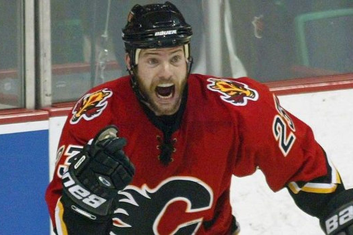 Martin Gelinas played two full seasons with the Flames, and scored 38 goals with 49 assists.