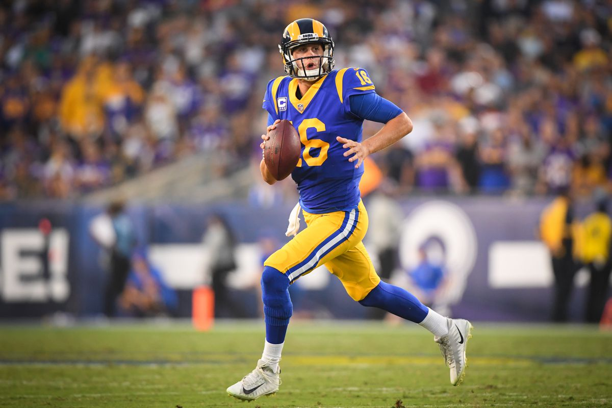 8487ca00e Jared Goff throws 5 TDs in Rams  38-31 win over Vikings on  Thursday Night  Football