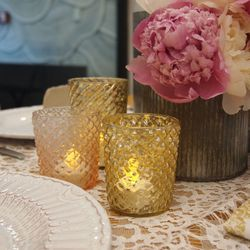 """Element 2: Soft Lighting. """"If the venue doesn't permit real candles, LED lights give the same warm glow. They're also a go-to choice for hanging lanterns."""" (<a href=""""http://www.bhldn.com/shop-decor-lighting/bric-a-brac-votives-5/productoptionids/d6588c0c-"""