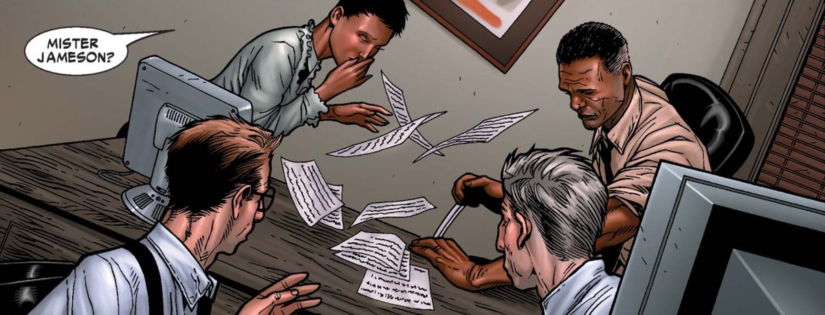 J. Jonah Jameson fainting in Civil War #2, Marvel Comics (2006).