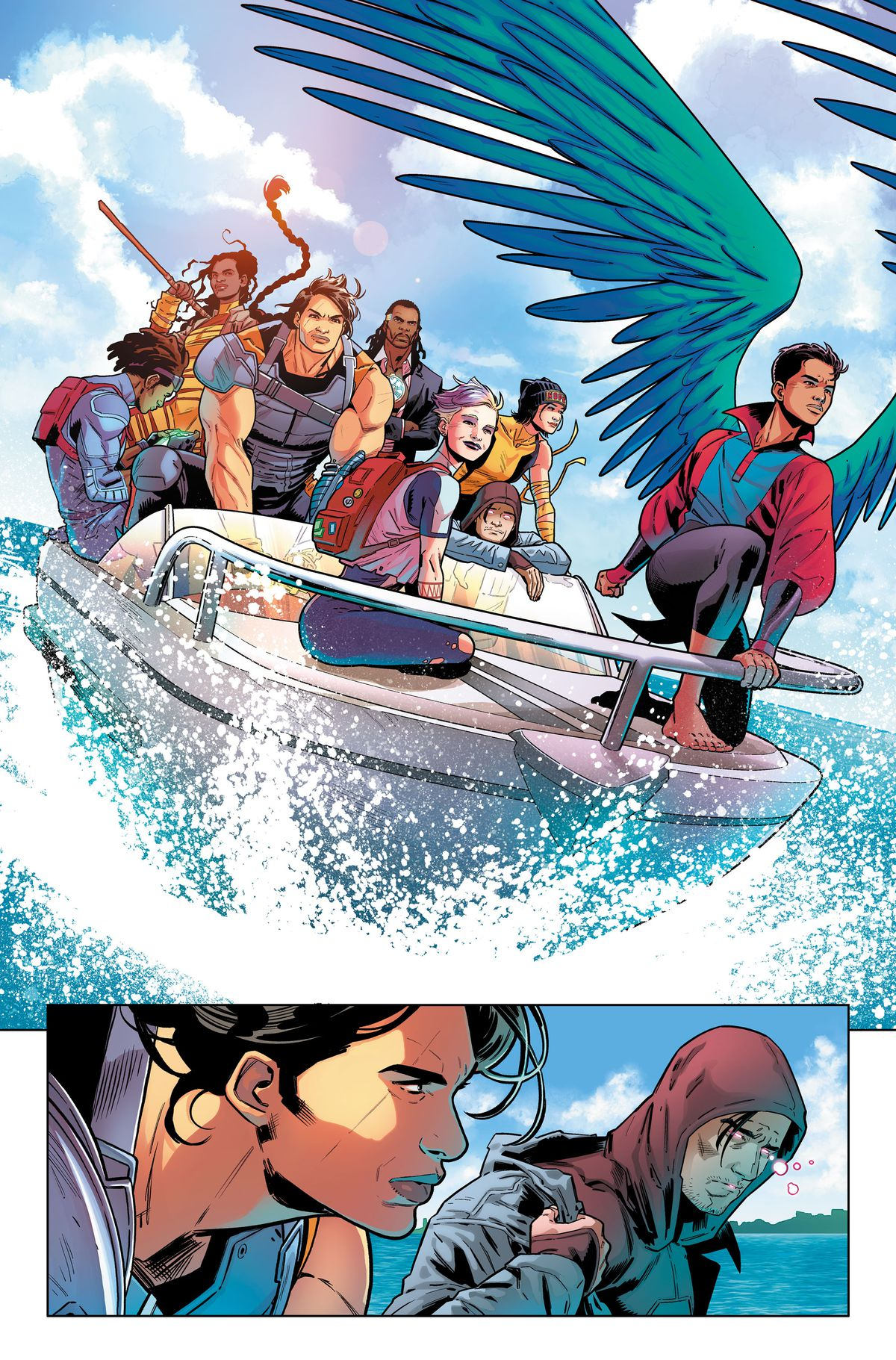 The Revolutionaries, consisting of (LtR) Jog, Thylacine, Osita, Deadly Six, Blink, T.N.Teen, Chaos Kitten, and the Aerie, ride a speedboat, in an unlettered page from Suicide Squad #1, DC Comics (2019).