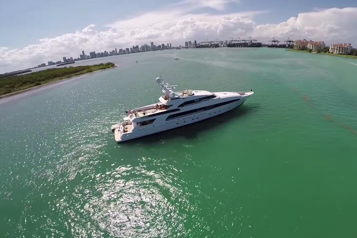 An aerial of a superyacht