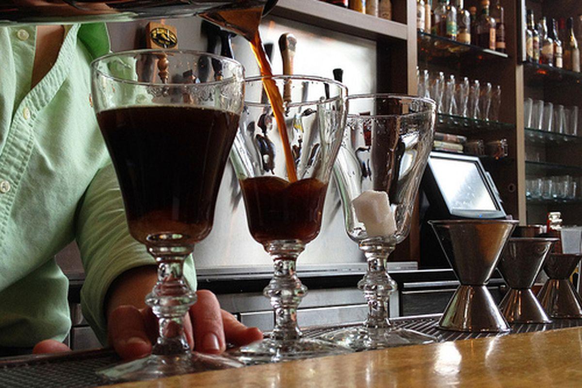 Making Irish coffees at Delarosa.