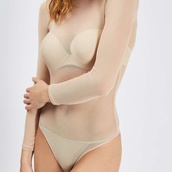 Paired with a nude cami or bralette, this sheer bodysuit screams Kim KW.