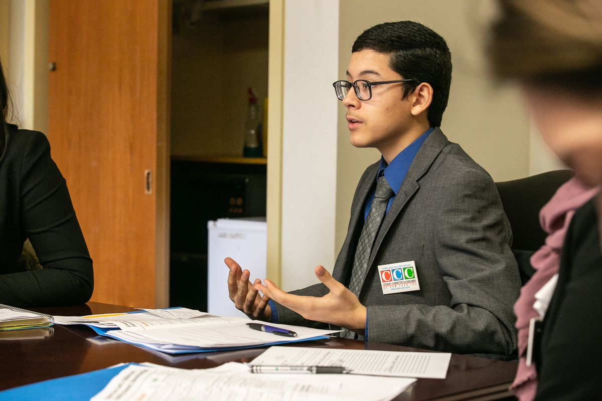 Bay Ridge high school senior Edward Sanchez, 17, at the Citizen Committee for Children's annual State Advocacy Day in Albany.