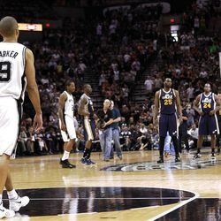SAN ANTONIO, TX - APRIL 29:  Tony Parker #9 of the San Antonio Spurs walks to the court before Game One of the Western Conference Quarterfinals in the 2012 NBA Playoffs at AT&T Center on April 29, 2012 in San Antonio, Texas.
