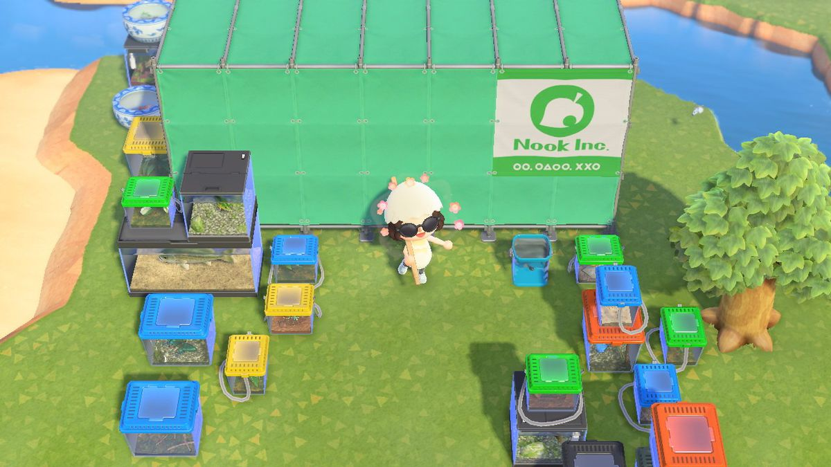 Animal Crossing human wearing eggshell hat in front of a museum in progress