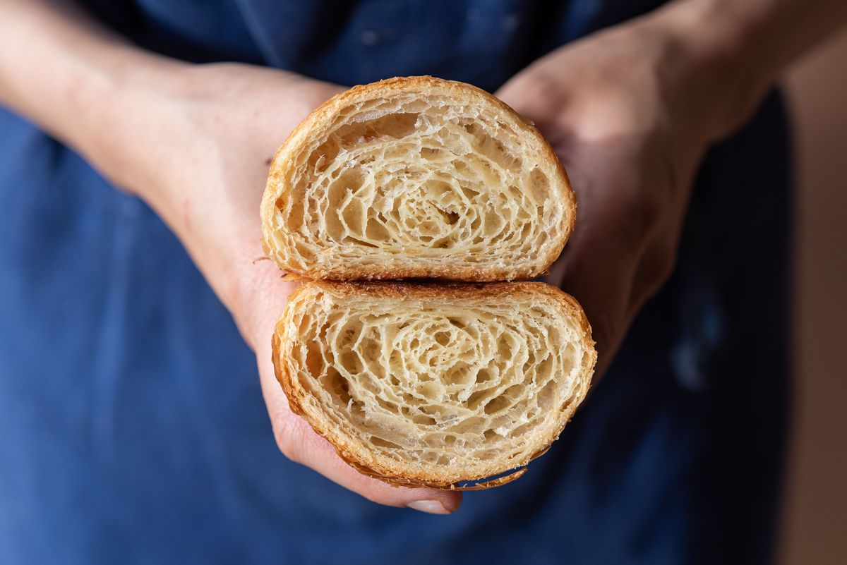 A close up of the interior of a vegan croissant made by Bakers Bench chef Jennifer Yee.
