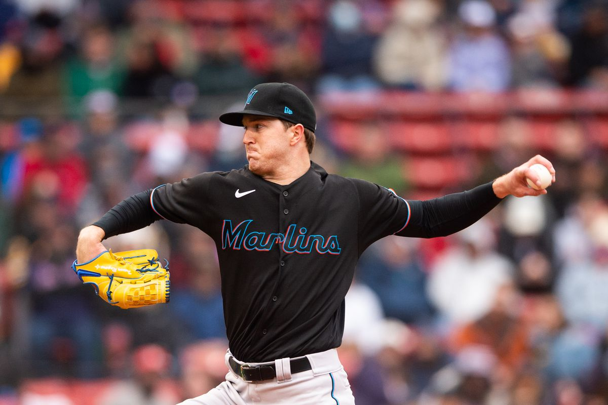 Trevor Rogers #28 of the Miami Marlins pitches in the second inning against the Boston Red Sox at Fenway Park on May 29, 2021 in Boston, Massachusetts.