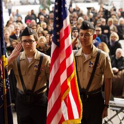 Members of the West High School ROTC present the colors as Jackie Biskupski is sworn in as Salt Lake City mayor during a ceremony outside the City-County Building on Monday, Jan. 4, 2016.