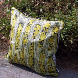 """Vera Neumann silk scarf pillow, <a href=""""http://www.etsy.com/listing/72626538/decorative-throw-pillow-or-cushion-cover?ref=fp_recently_viewed_0"""">$62</a>."""