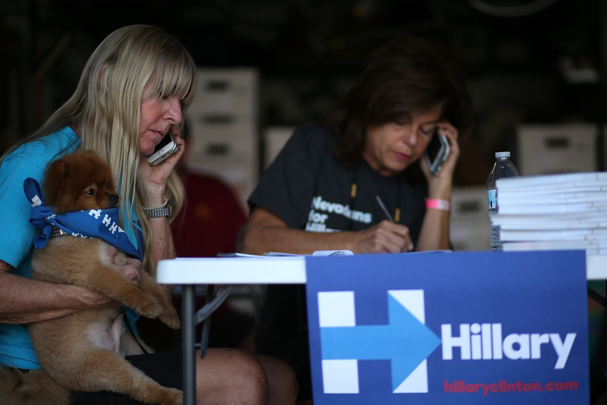 Hillary Clinton Staff Members And Volunteers Work In Their Vegas Campaign Office