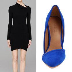 "sexy collarbone swag x bodycon ÷ long sleeves + super sharp blue suede shoes = modern confidence   <b>Helmut Lang</b> Flare Dress in black, <a href=""http://www.helmutlang.com/LS-DD/C08HW603,default,pd.html?start=5&cgid=womens-dresses-skirts"">$425</a> + <b"