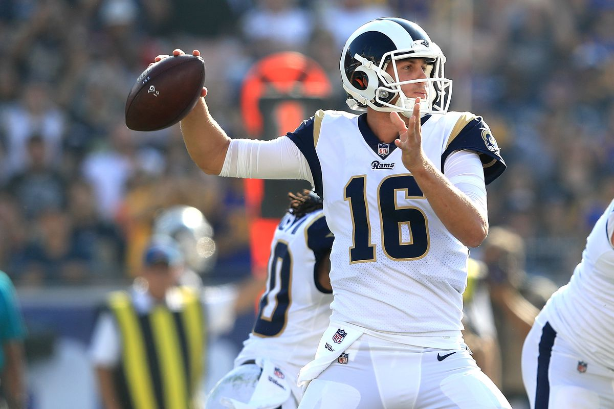 LOS ANGELES, CA - NOVEMBER 26:  Jared Goff #16 of the Los Angeles Rams throws a pass during the game against the New Orleans Saints at the Los Angeles Memorial Coliseum on November 26, 2017 in Los Angeles, California.  (Photo by Sean M. Haffey/Getty Images)