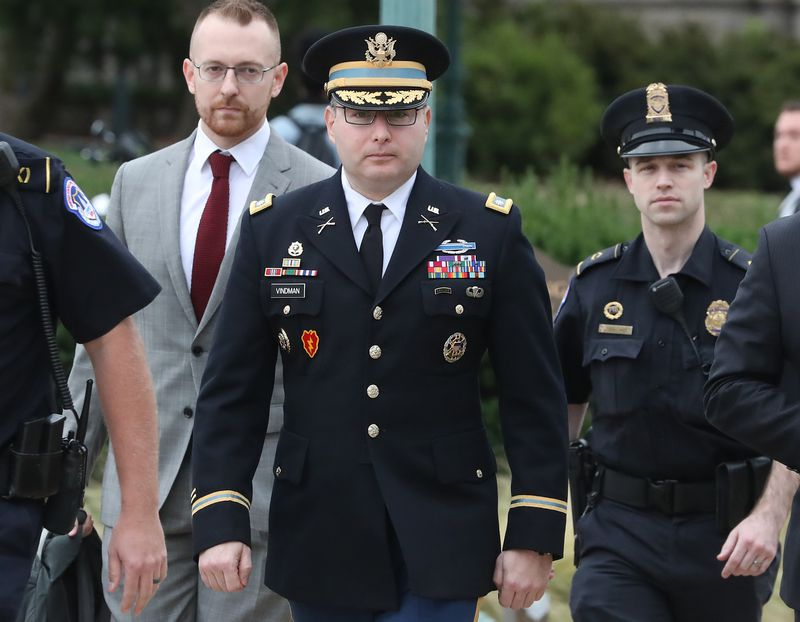 Alexander Vindman, director of European Affairs at the National Security Council, arrives at the US Capitol to testify for his closed-door hearing in full military uniform.