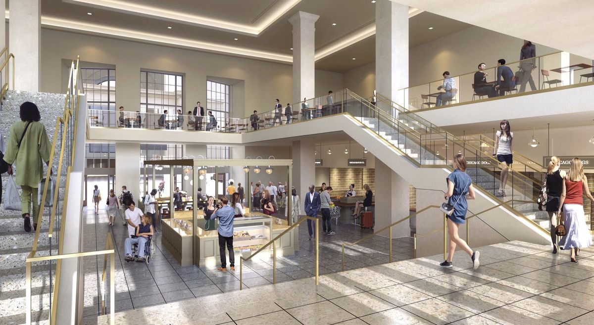 A rendering shows customers enjoying a split-level dining area with restaurants lining the wall and occupying a central counter. Doors in the back lead to the station's Great Hall.