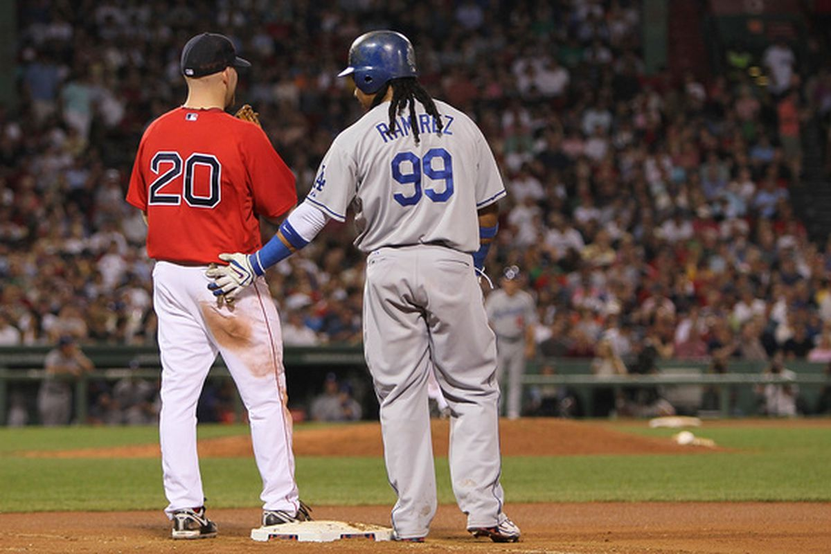 BOSTON - JUNE 18:  Manny Ramirez #99 of the Los Angeles Dodgers interacts with Kevin Youkilis #20 the Boston Red Sox after Ramirez singled in the 6th inning at Fenway Park on June 18, 2010 in Boston, Massachusetts. (Photo by Jim Rogash/Getty Images)