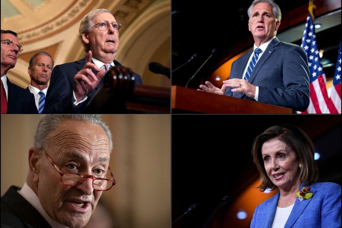 Clockwise from top left, Senate Majority Leader Mitch McConnell, House Minority Leader Kevin McCarthy, House Speaker Nancy Pelosi and Senate Minority Leader Chuck Schumer.