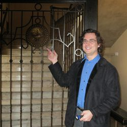 Tour guide James Wilson opens the gate to Salt Lake City's Masonic temple. (Lee Benson/Deseret News)