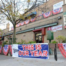 4:18 p.m. Banners still out along the patio at Murphy's Bleachers -
