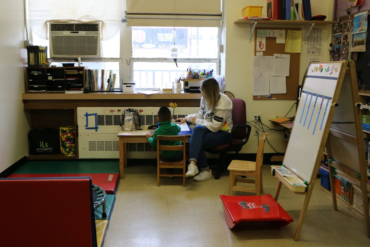 A student with disabilities at HeartShare Taranto preschool in Brooklyn receives occupational therapy.
