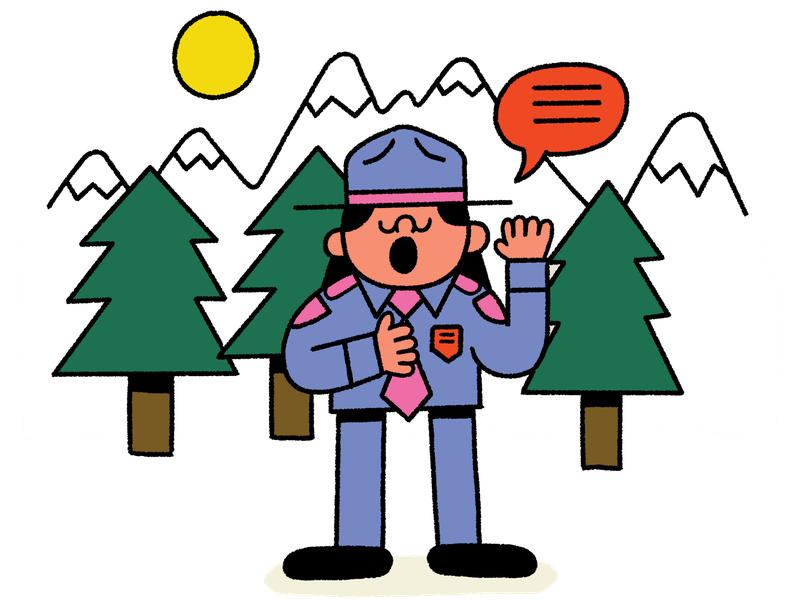 A park ranger holds their hand to their heart and says a pledge. In the background are trees, mountains, and the sun. This is an illustration.