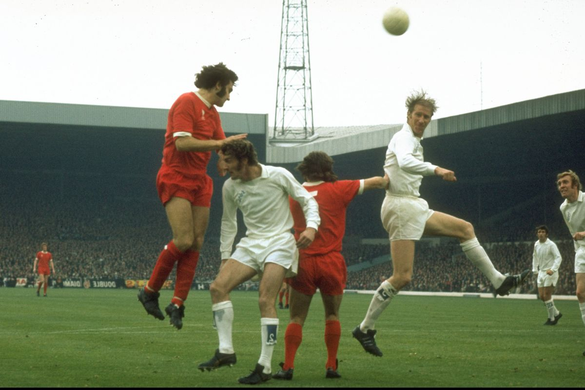 Jack Charlton and Paul Madeley of Leeds and Larry Lloyd and Kevin Keegan of Liverpool