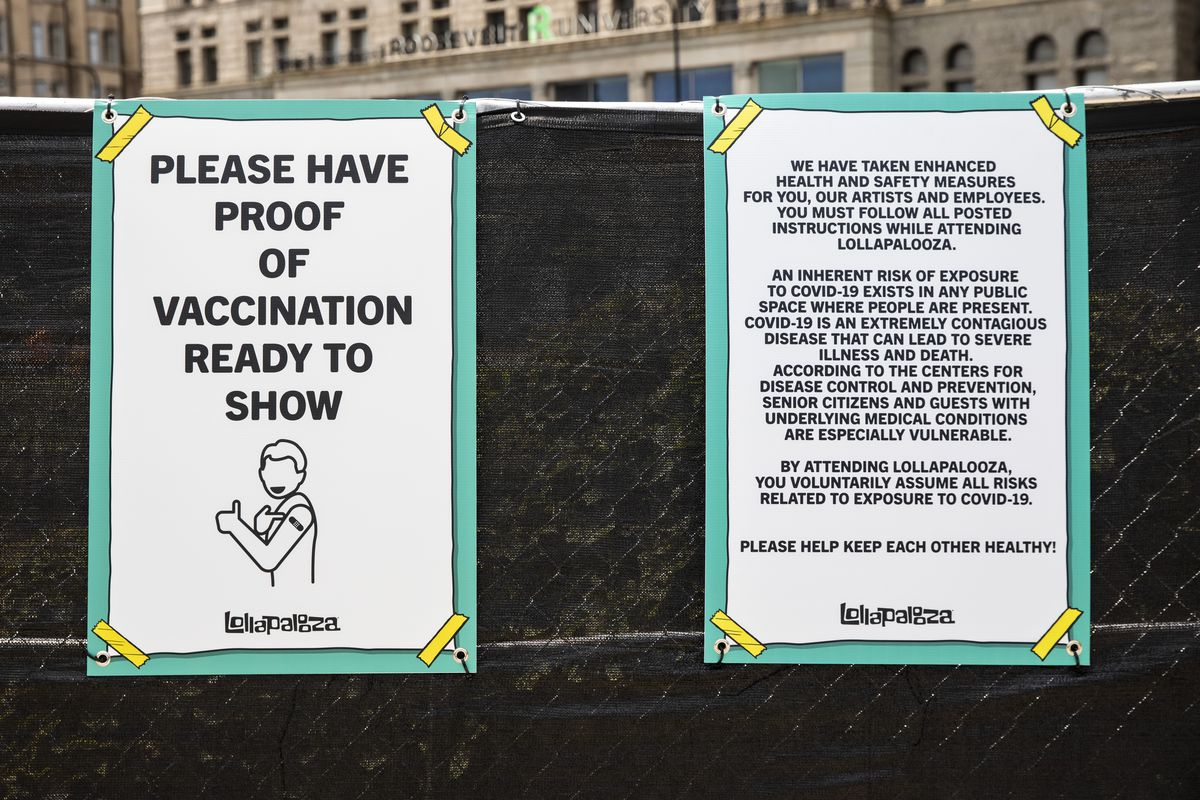 Attendees at Lollapalooza in Grant Park were required to show proof of vaccination or of a negative COVID-19 test before entering the music festival.