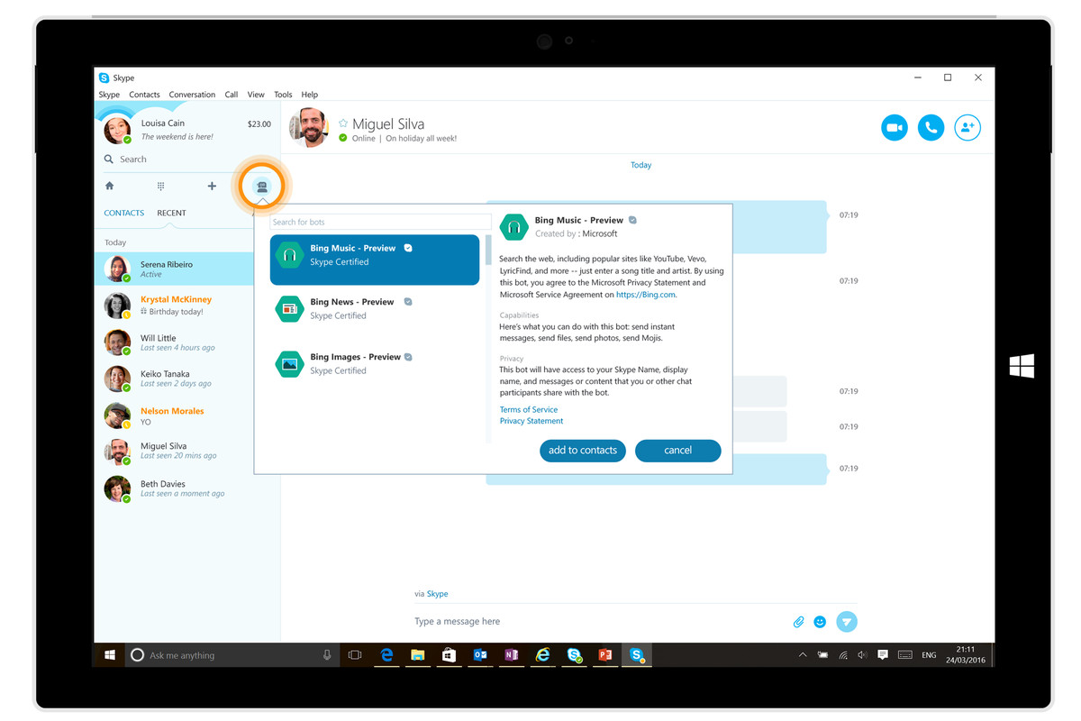 microsoft adds five new ai chatbots to skype the verge