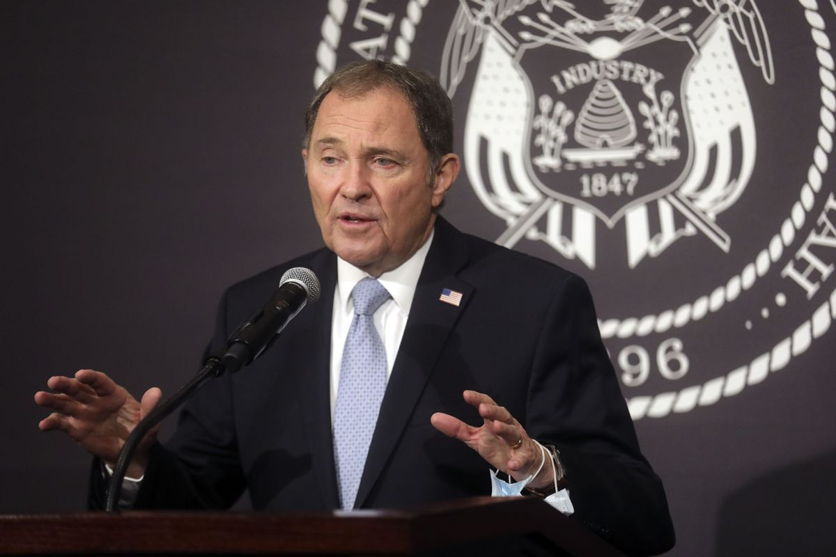 Gov. Gary Herbert speaks during the daily COVID-19 media briefing at the Capitol in Salt Lake City on Tuesday, April 14, 2020, where state officials announced that Utah's K-12 public schools will remain closed for in-person learning for the remainder of the academic year.