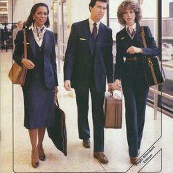 """An advertisement featuring 80s era flight attendant uniforms. Photo via <a href-""""http://www.uahf.org/ua_flight_attendants_fashions.asp"""">UAHF.org.</a>"""