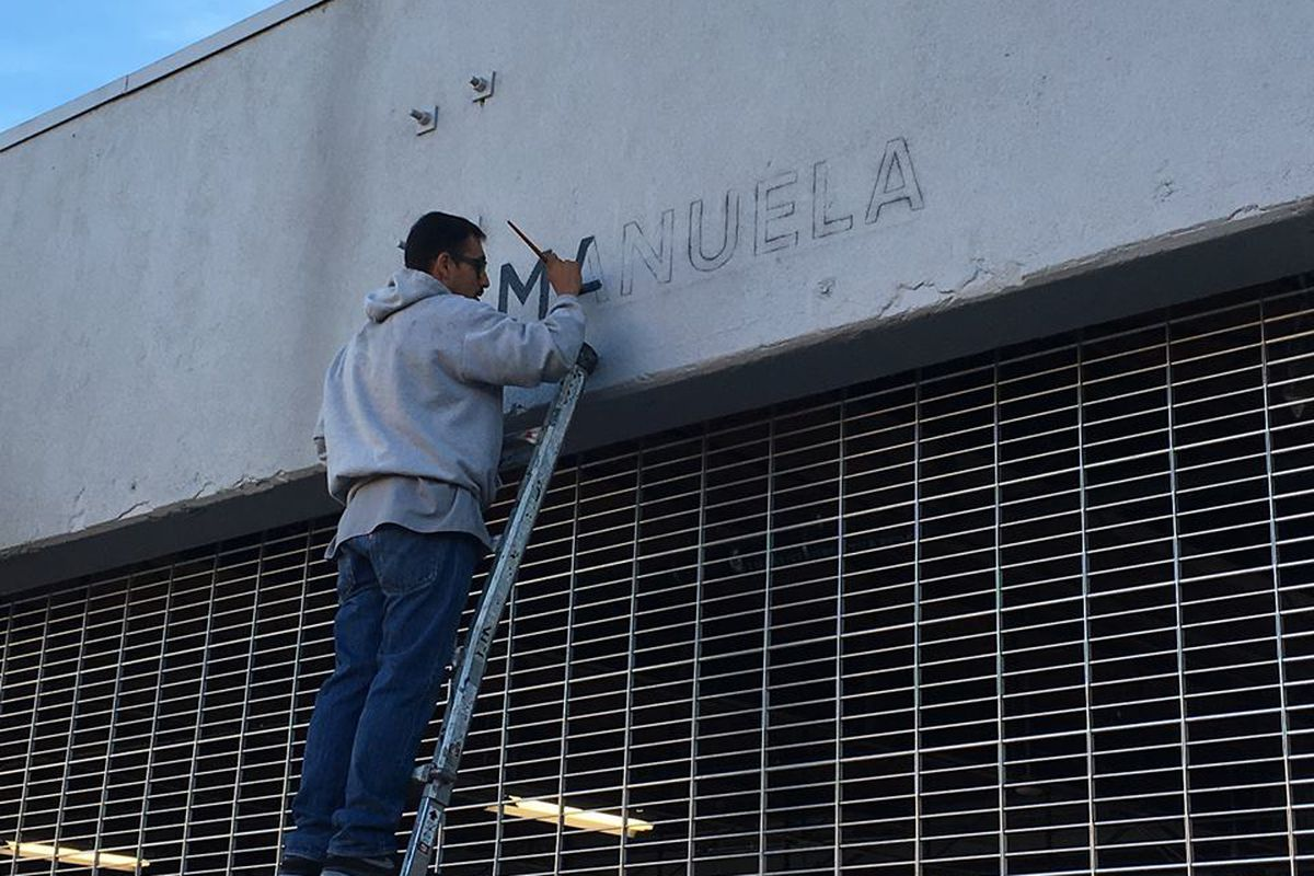 Signage going up for Manuela in the Arts District