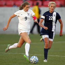 Skyline's Holly Daugirda (9) dribbles downfield against Timpanogos in the 5A high school girl's soccer championship at Rio Tinto Stadium in Sandy, UT, Friday, Oct. 23, 2015.