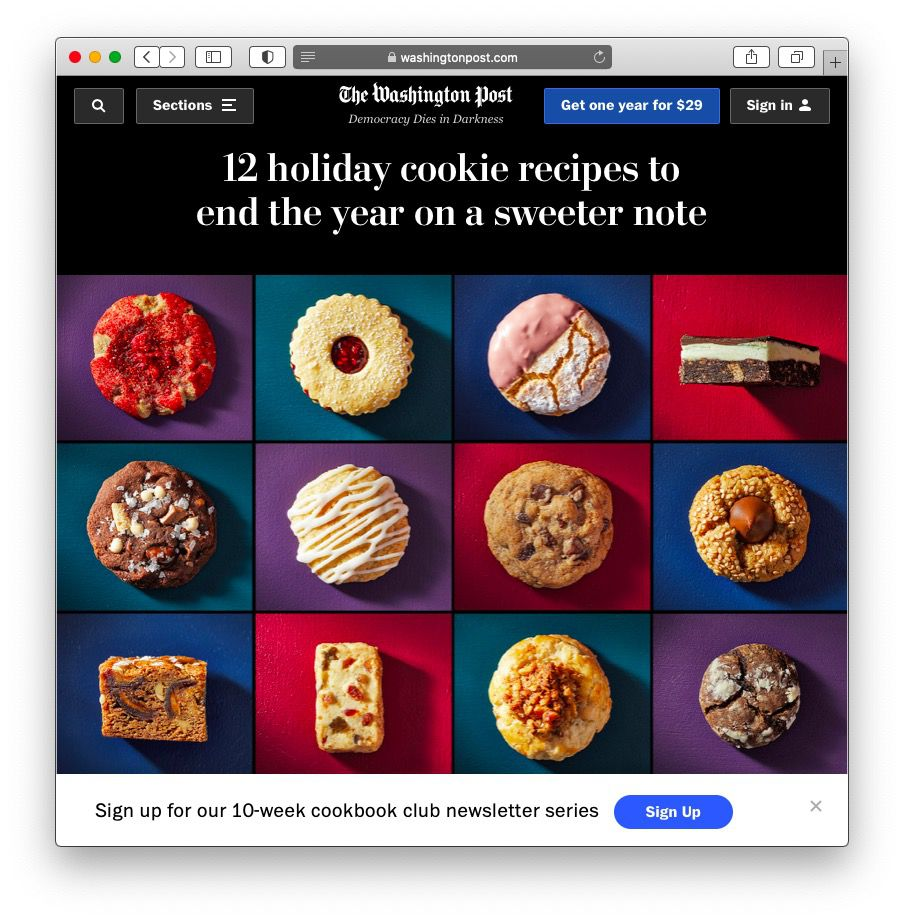 A screenshot of the Washington Post's cookie article.