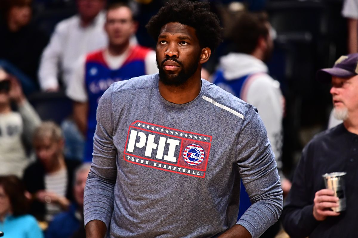 Philadelphia 76ers center Joel Embiid before the game against the Denver Nuggets at the Pepsi Center.