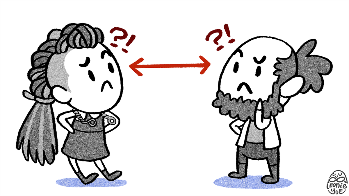 A game developer and a player look at each other, confused about what the other is thinking
