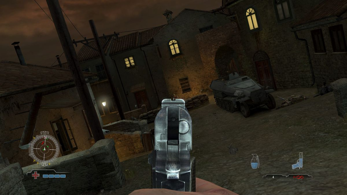 Medal of Honor: Airborne - peeking out of cover and aiming a pistol