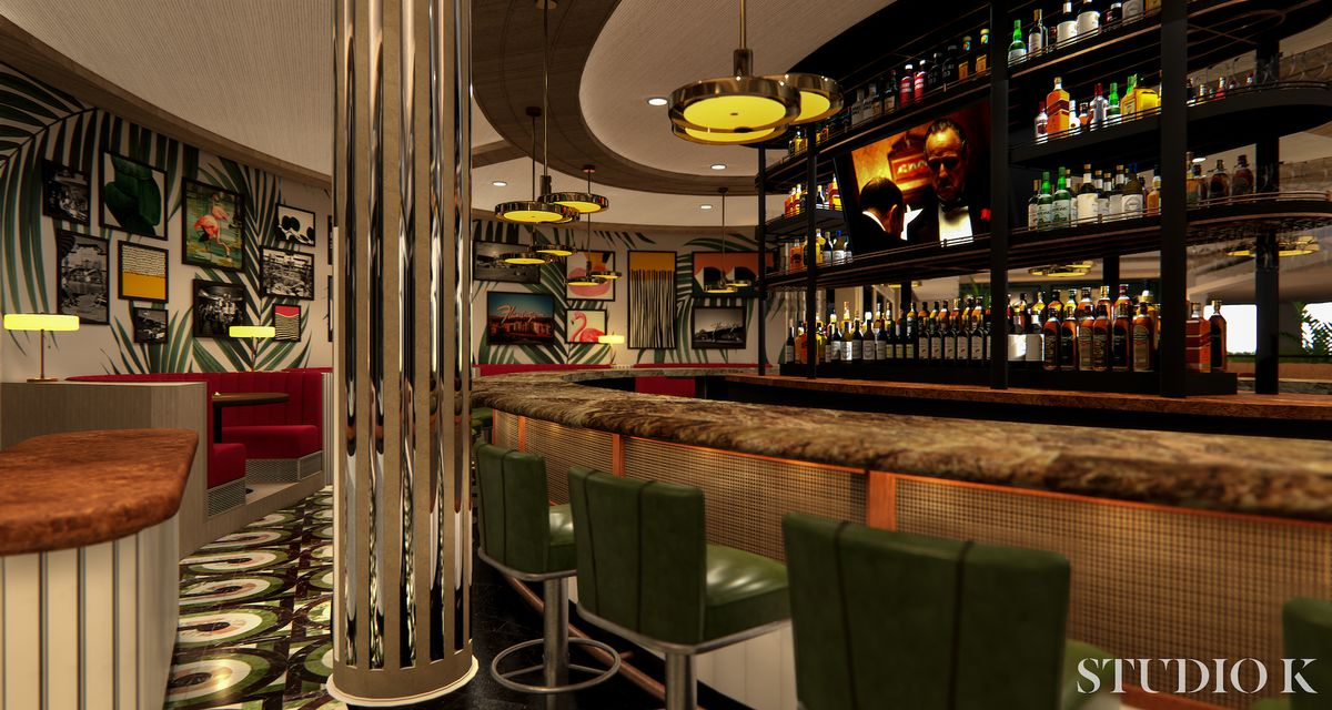 A rendering of the main bar at Bugsy & Meyer's Steakhouse