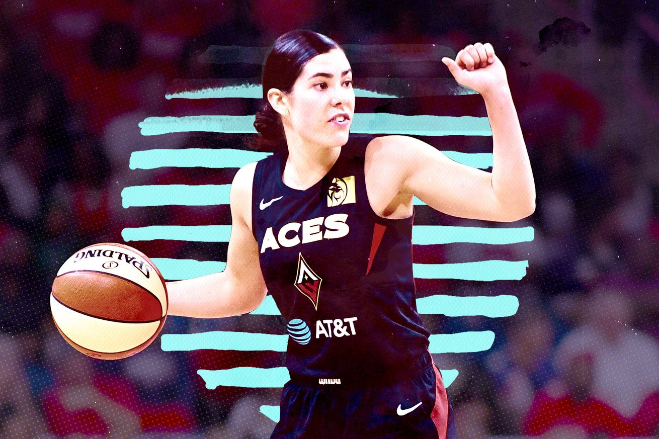 Kelsey Plum calls a play for the Las Vegas Aces in the WNBA playoffs.