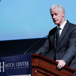 """BYU President Kevin J Worthen speaks to students during """"An Evening With Neil Gorsuch"""" hosted by the Hatch Center on Friday, Sept. 20, 2019."""