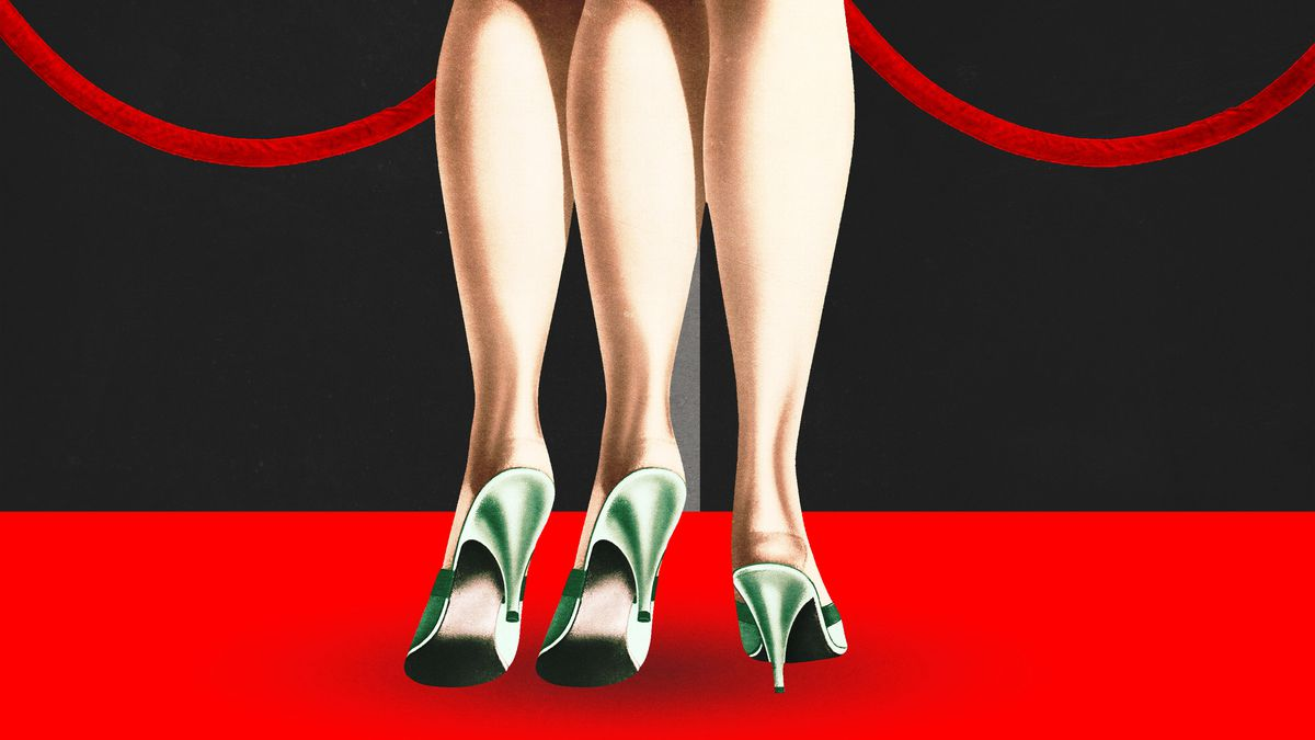 Illustration of a movie star on the red carpet with three legs in high heels