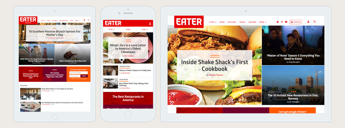 Screenshots of Eater's homepage at mobile, desktop, and tablet