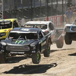Pro 4 racers start their race as they compete in the Lucas Off-Road races in Tooele on Saturday, June 24, 2017.