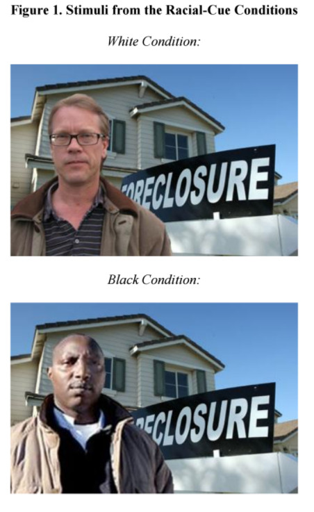 The two images used in the study: one of a white man in front of a foreclosure sign, and another of a black man in front of the same sign.