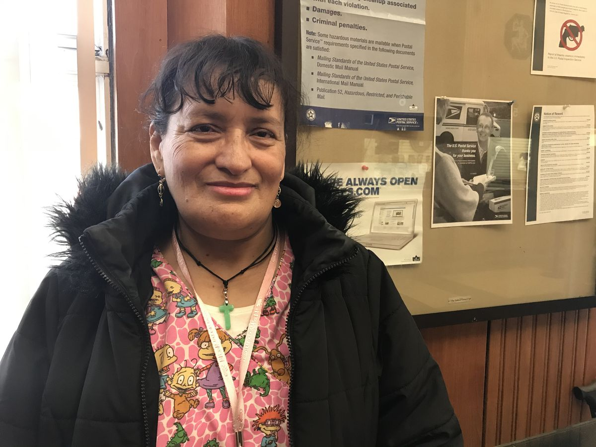 Alicia Guerrero said staff at the Post Office in Pilsen aren't helpful to non-English speakers like her. February 7, 2020.