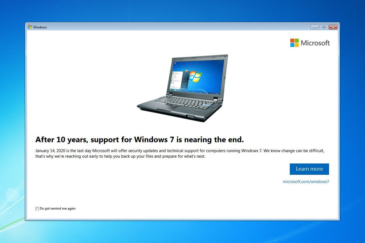 Microsoft starts notifying Windows 7 users about end of